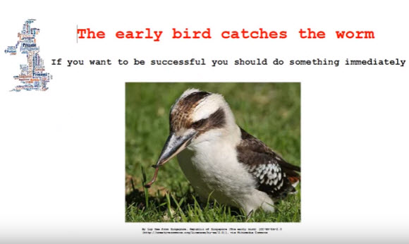 諺語:The early bird catches the worm