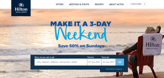 Hilton Hotel homepage