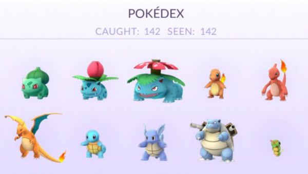 142隻不同的Pokémon