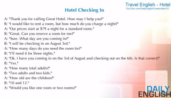 飯店英文會話