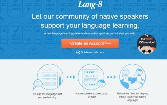 Lang-8 Homepage